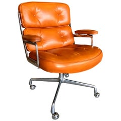 Vintage Cognac Leather Eames Time Life Chair