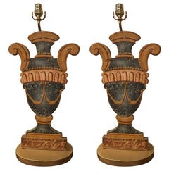 Pair of Italian Painted Urn-Form Plaques Adapted as Lamps, 19th Century