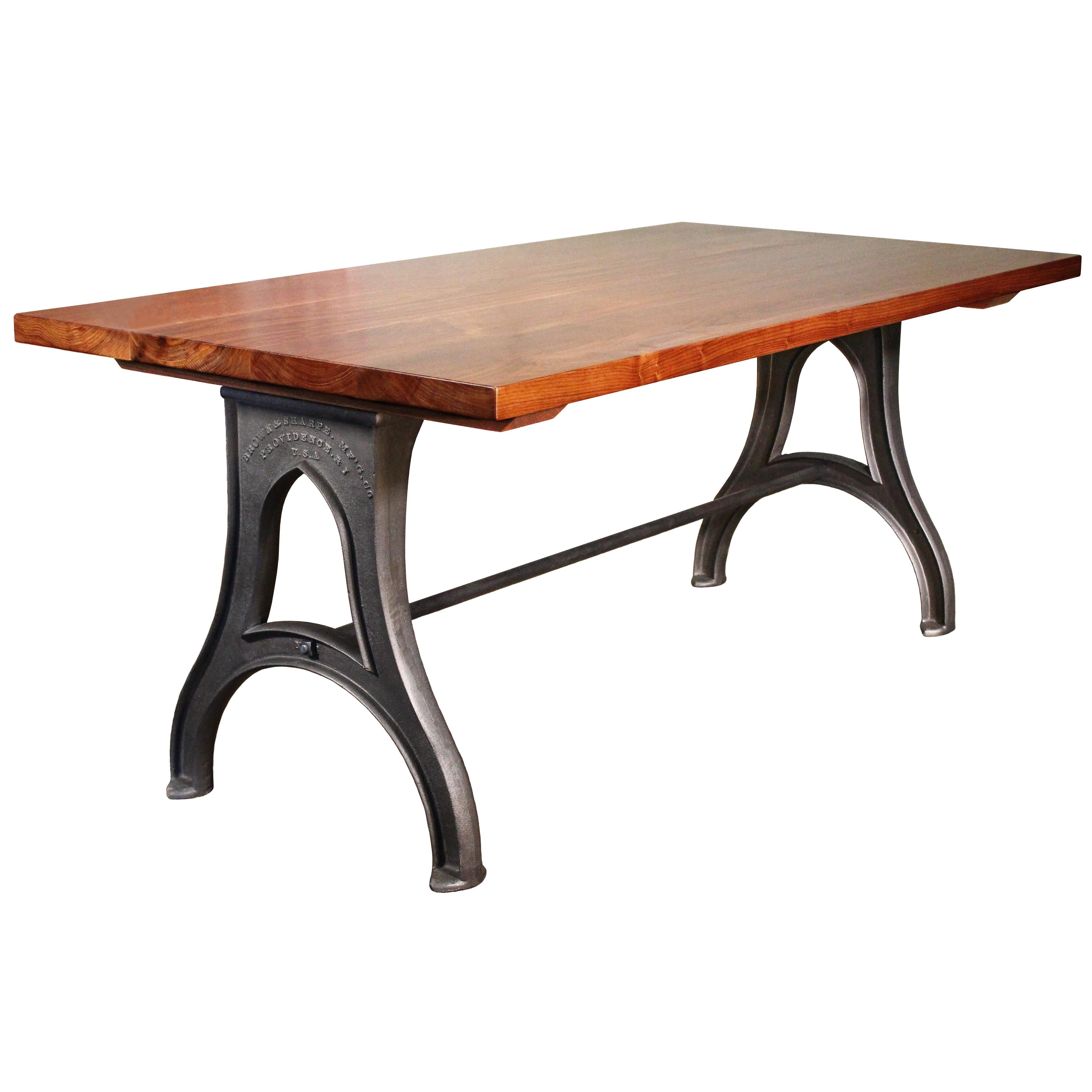 Exceptionnel Bespoke Walnut Desk With Cast Iron Legs Industrial Modern Work Custom Table  For Sale