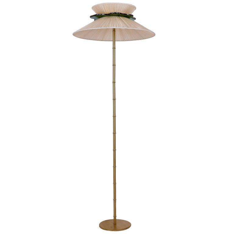 Daisy floor lamp brass body yellow honey silk silvered glass daisy floor lamp brass body yellow honey silk silvered glass necklace handmade for sale aloadofball Gallery