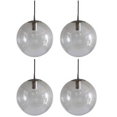 1970s Spherical Mid-Century Clear Bubble Glass Pendant Light by Peill & Putzler