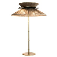 Daisy Table Lamp in Brass, tobacco Silk and silvered nacklace Glass Handmade