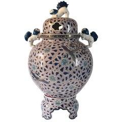 Large Japanese Lidded Gilded Hand-Painted Porcelain Vase by Master Artist