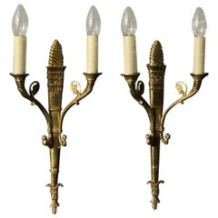 19th Century French Pair of Gilded Antique Wall Lights