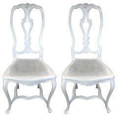 Pair of Iron Queen Anne Style Side Chairs