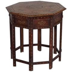 Antique Indian Inlaid Walnut Hoshiarpur Folding Octagonal Table, circa 1890