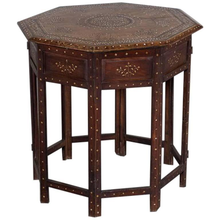 Antique Indian Inlaid Walnut Hoshiarpur Folding Octagonal