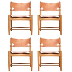 Mid-Century Modern Scandinavian Set of Four Chairs by Børge Mogensen Model 3237