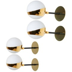 Four Brass and Opaline Glass Italian Sconces by Stilnovo