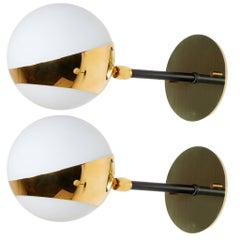 Pair of Brass and Opaline Glass Italian Sconces by Stilnovo
