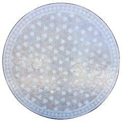 Moroccan Mosaic Table, White on White Rafraf