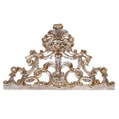 Hand-Carved Silver Gilt Wood Decorative Sculpture