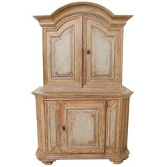 18th Century Swedish Period Baroque Two-Part Cabinet in Original Paint