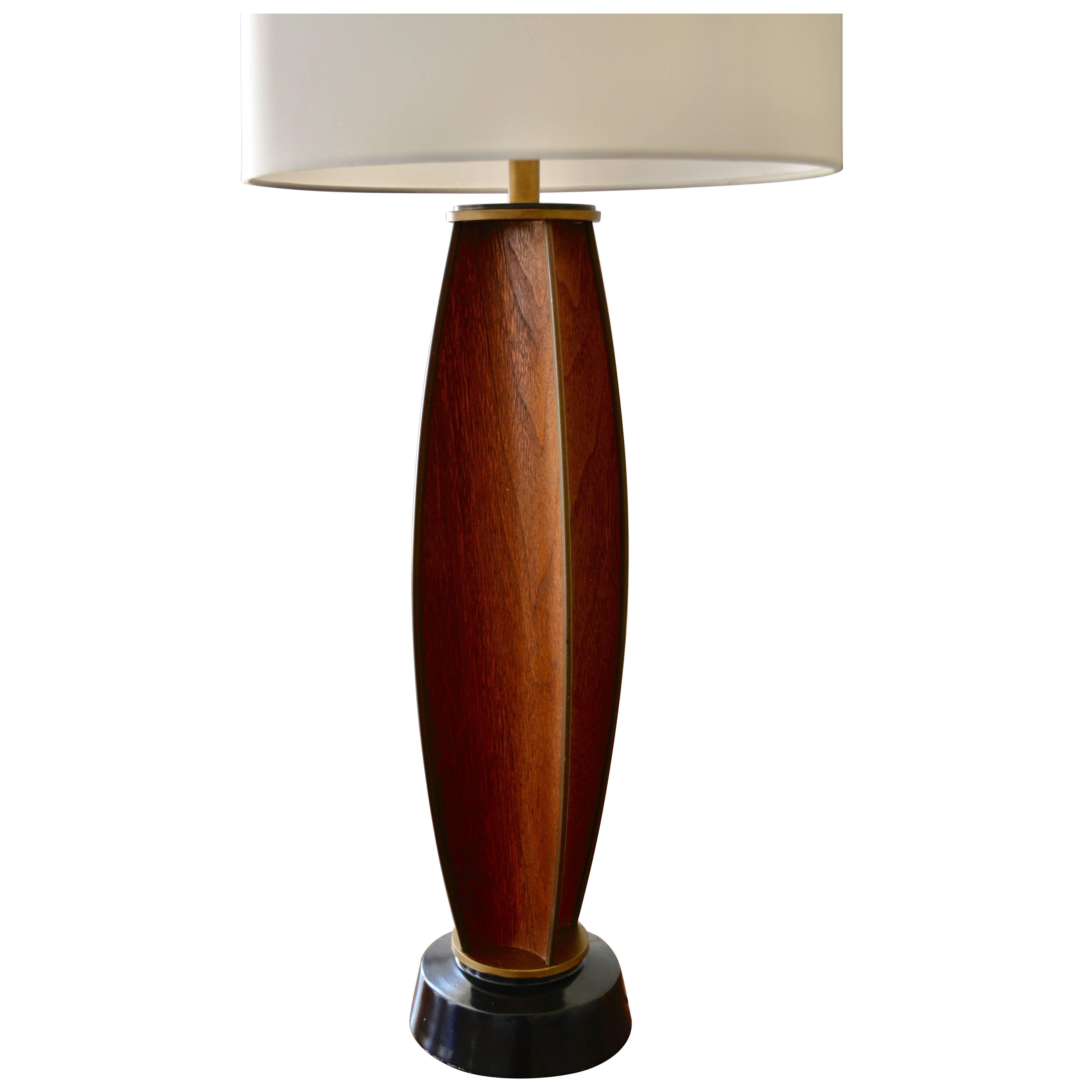 Gerald Thurston Parabolic Walnut and Brass Lightolier Table Lamp, circa 1956
