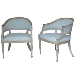 19th Century, Pair of Swedish Gustavian Barrel Back Armchairs