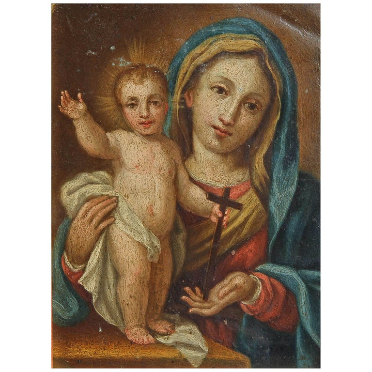 18th Century Oil Painting Madonna and Child