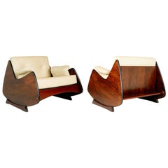 Jorge Zalszupin Jacaranda and Leather Lounge Chairs, Pair, Brazil circa 1960