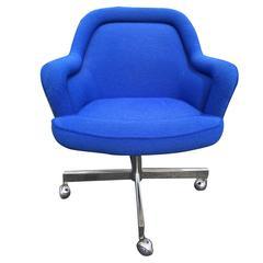 Pair Of Eero Saarinen Upholstered Tulip Swivel Desk Chairs