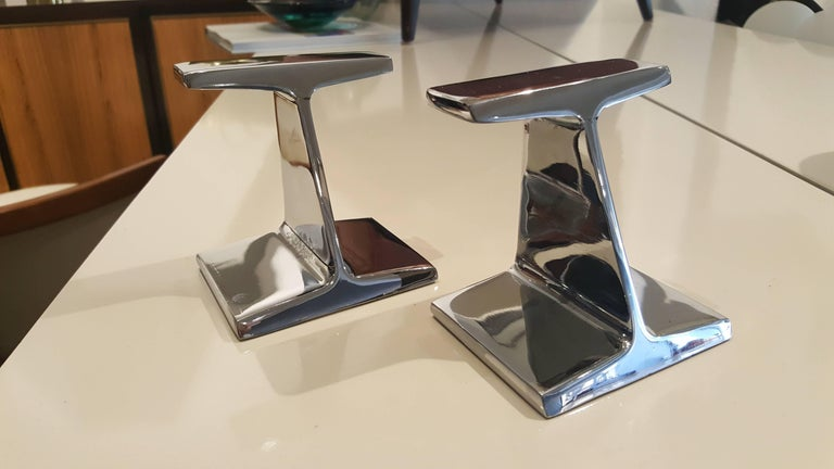 Mid-Century Modern Stunning Chrome-Plated Steel Railroad Tie Bookends, 1970s For Sale