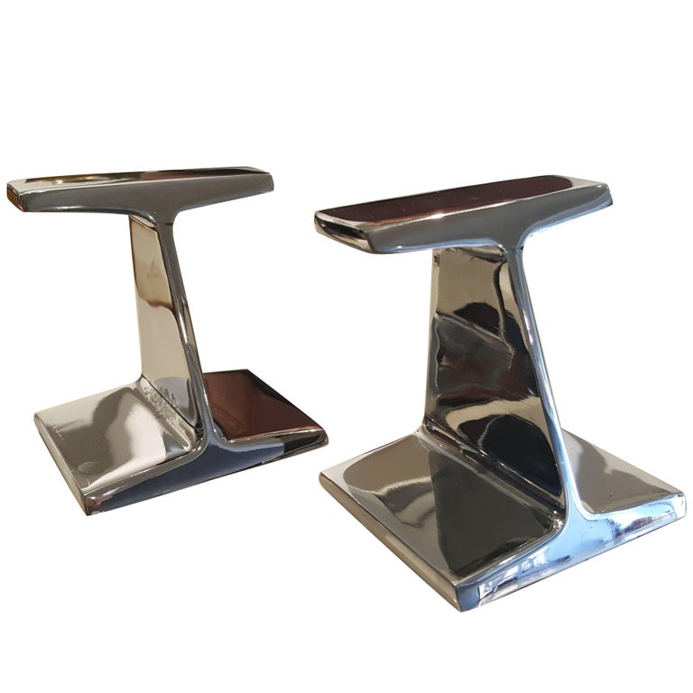 Stunning Chrome-Plated Steel Railroad Tie Bookends, 1970s For Sale