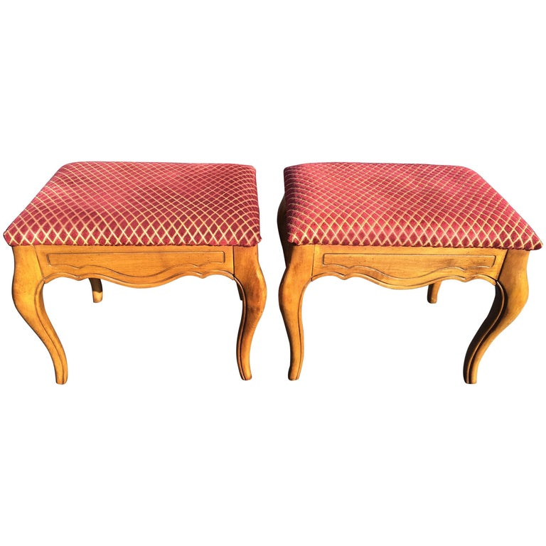 Pair of Carved and Upholstered Wooden Stools, 20th Century