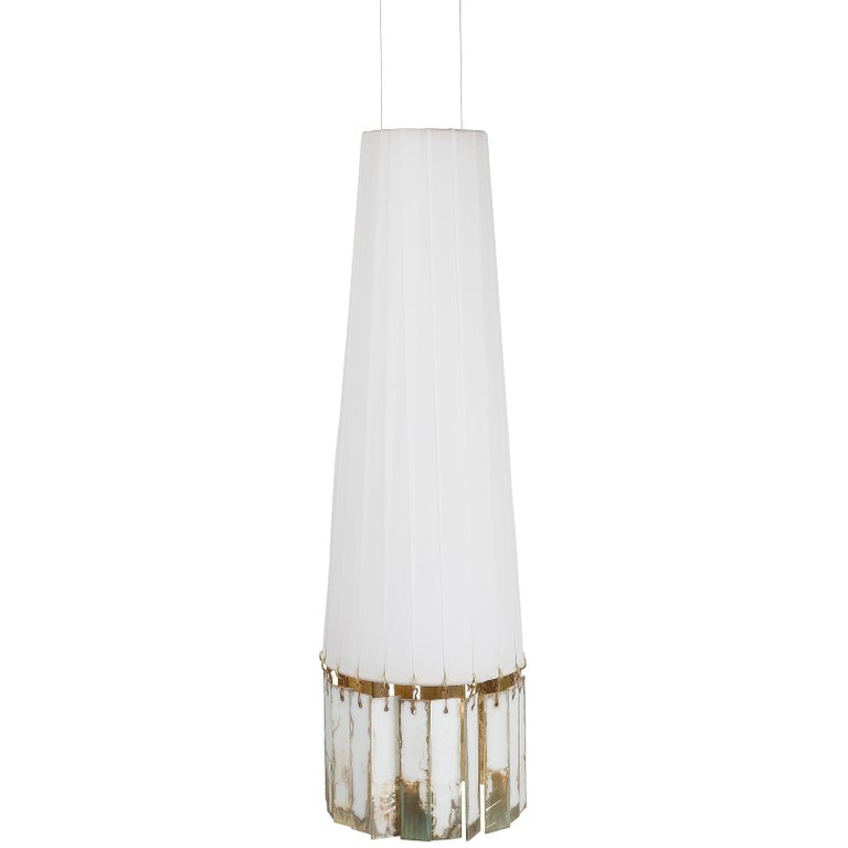 Magic hanging Lamp in Brass, white strips, double face silvered glass