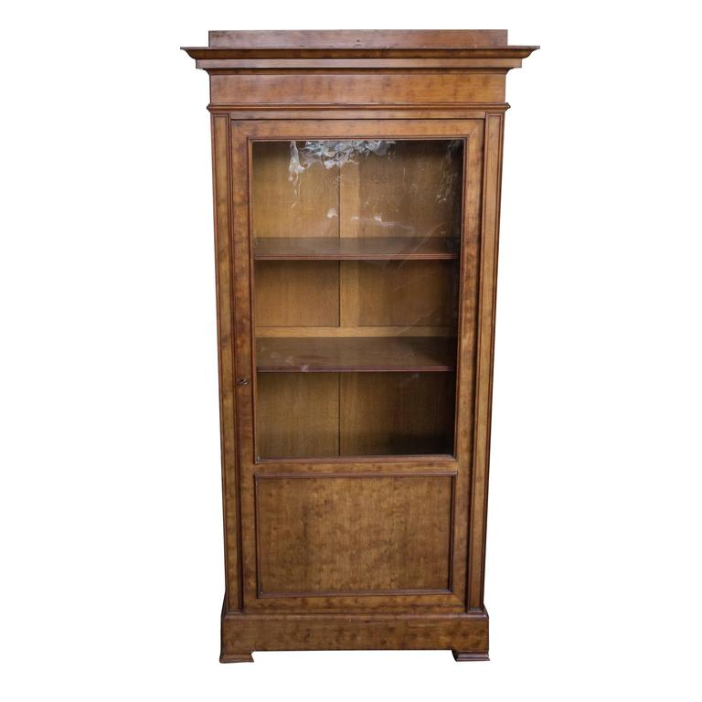 French 19th Century Walnut Bookcase with Original Glass Door For Sale