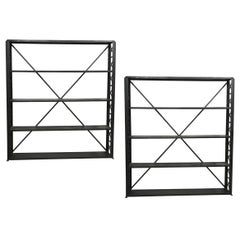Two Large and Narrow Industrial Blackened Iron and Steel Bookcases or Etageres