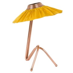 Freevolle sculpture Table Lamp, Copper finsh Sun Silk Taffeta Handmade