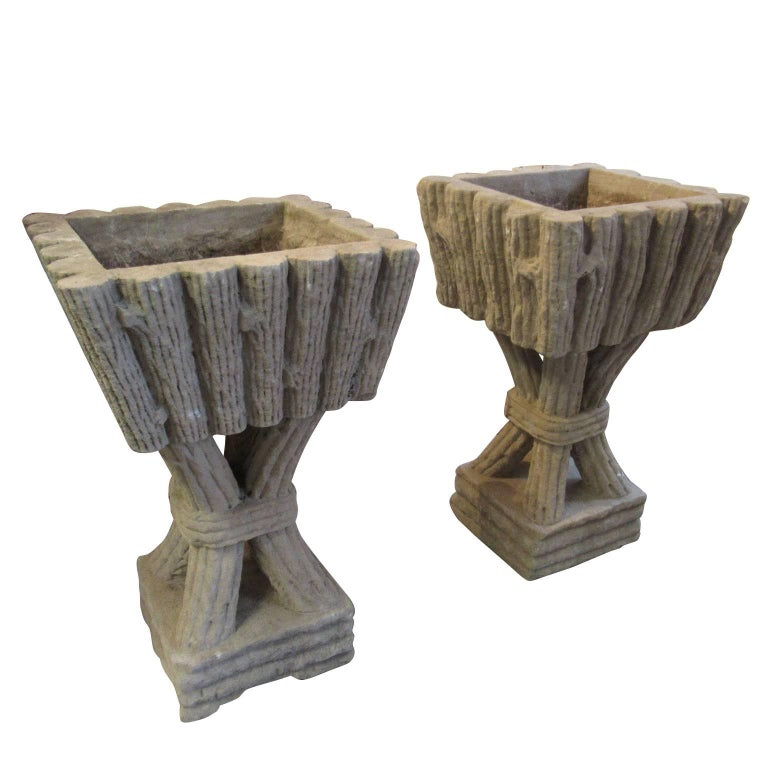 Large Pair of Vintage Faux Bois Pedestal Form Cast Stone Garden Planters For Sale