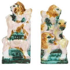1930s Earthenware Bookends of Lions in the Style of Wiener Werkstatte