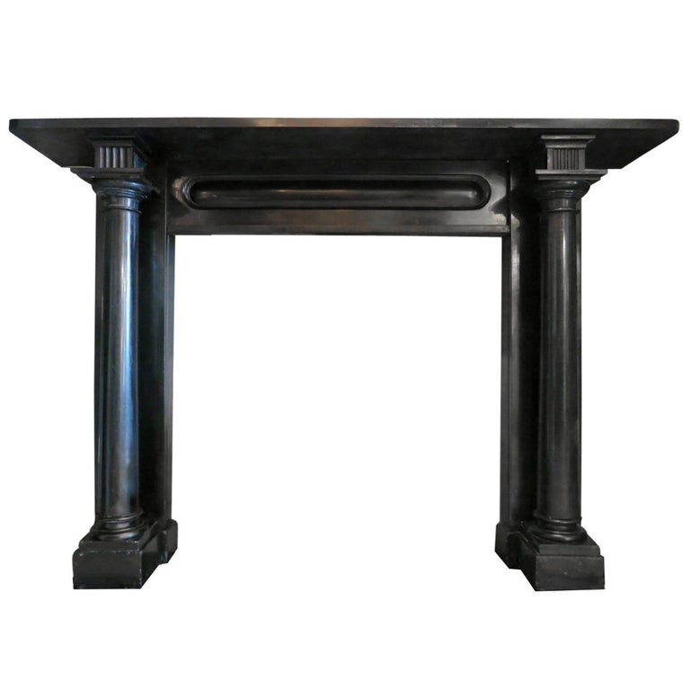 Irish Regency Period Black Kilkenny Marble Fireplace Mantel