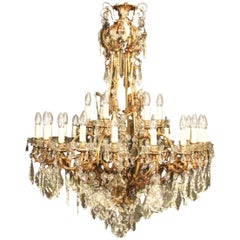 French Large Gilded Bronze and Crystal Twenty-Four-Light Antique Chandelier