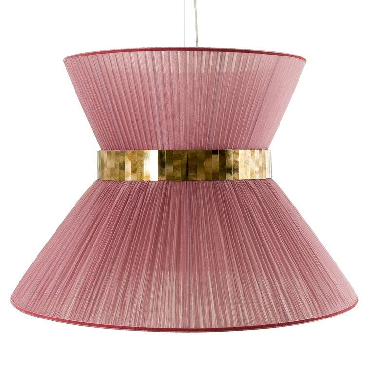 Tiffany contemporary Hanging Lamp 100 cm onion Silk, Silvered Glass Handmade