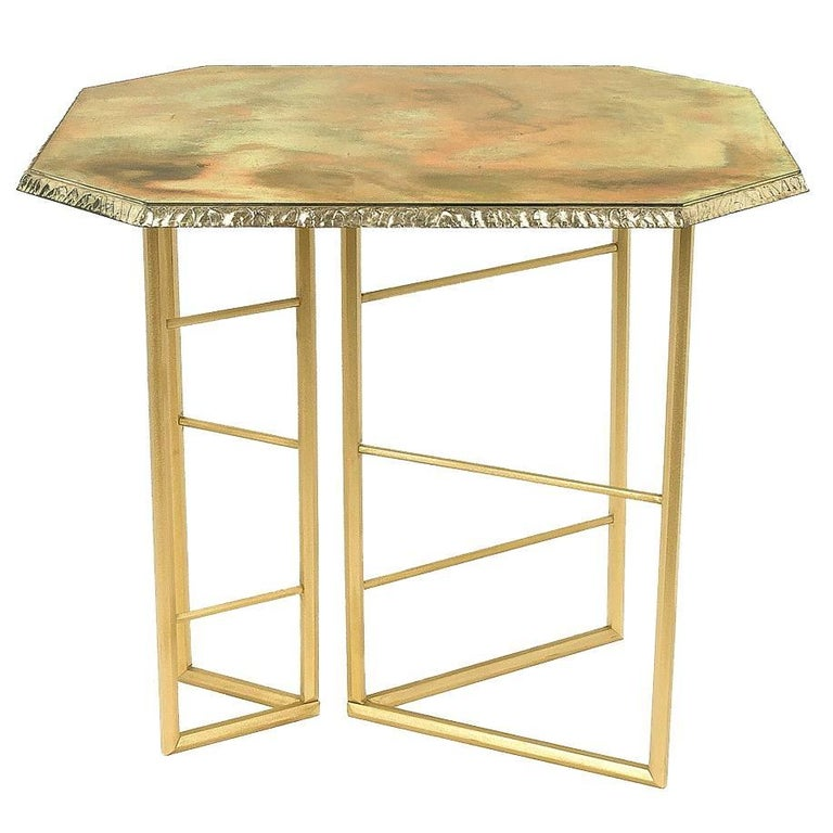 Fly, Unique Piece Console in Brass and Silvered Glass Handmade in stock