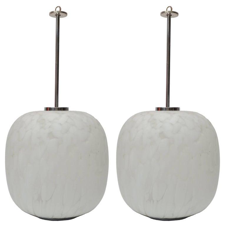Mazzega Murano Attributed Pendant Lamp Mottled White Murano Glass, Pair