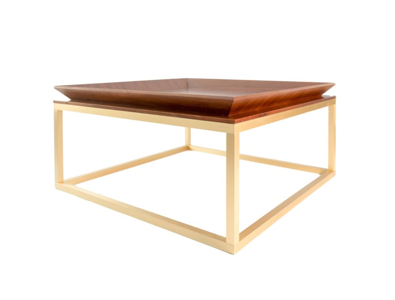 Hand-Crafted Le Tray Straight Legs, Coffee Table or Cocktail Table, Walnut and Brass Legs For Sale
