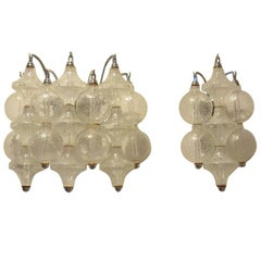 False Pair of 1970s Tulipan Drop Down Blown Glass Wall Sconces by Kalmar Franken
