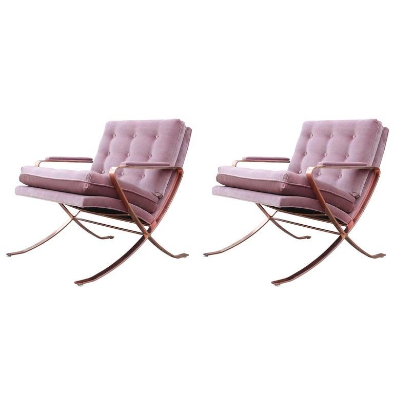 Pair of Modern Italian Copper-Plated Lounge Chairs in Tufted Mauve Kravet Velvet