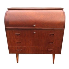 Mid-Century Teak Cylinder Roll Top Desk attributed to Egon Ostergaard