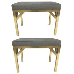 Pair of Brass French Modernist Upholstered Benches