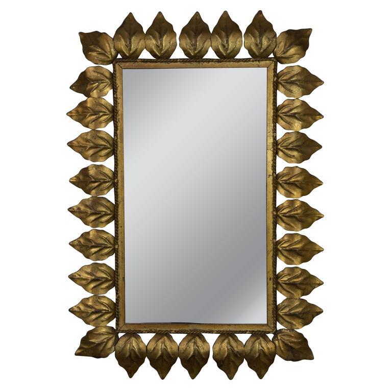 Rectangular Gilt Metal Sunburst Mirror