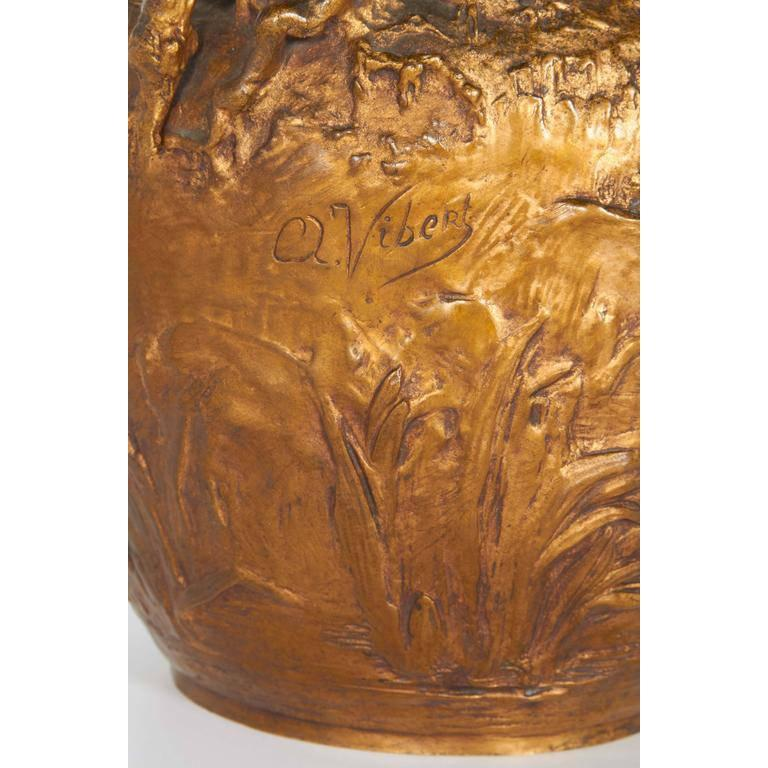 Alexandre Vibert, French Art Nouveau Figural Gilt Bronze Ewer, circa 1900 For Sale 2