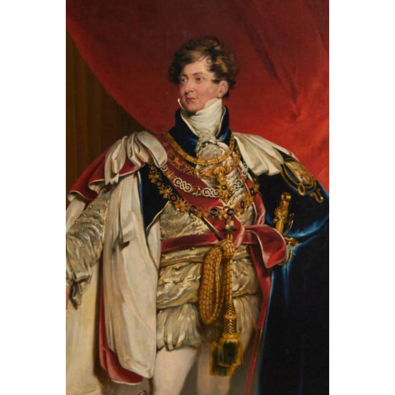 A museum quality oil on canvas coronation portrait of King George IV (1762-1830), probably from the studio of Sir Thomas Lawrence (1769-1830). The original painting is currently on display in the Baltimore Museum of Art. Includes original gilt wood