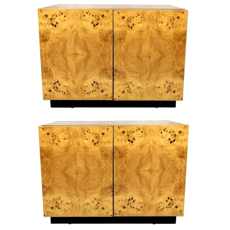 Pair of Olive Burl Nightstands by Lane, in the style of Milo Baughman