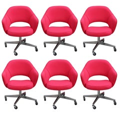 Set of Six Red Modern Knoll Saarinen Executive Swivel Armchairs on Wheels