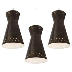 Large 1950s Italian Perforated Brass Double-Cone Pendants