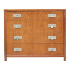 Modern Michael Taylor for Baker Furniture Four-Drawer Walnut Chest or Dresser