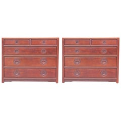 Matching Pair of Modern Chinoiserie Asian / Oriental Mahogany Bachelor Chests