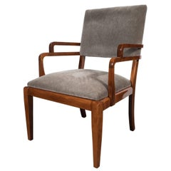 American Art Deco Streamlined Occasional Chair in Walnut and Dove Grey Mohair